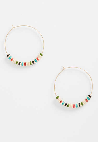 multi colored beaded hoops