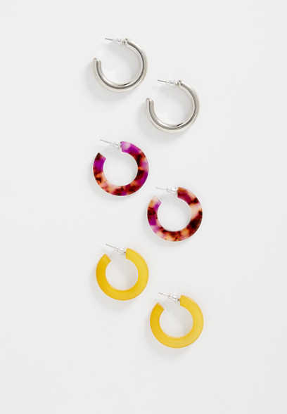 3 piece resin hoop earring set
