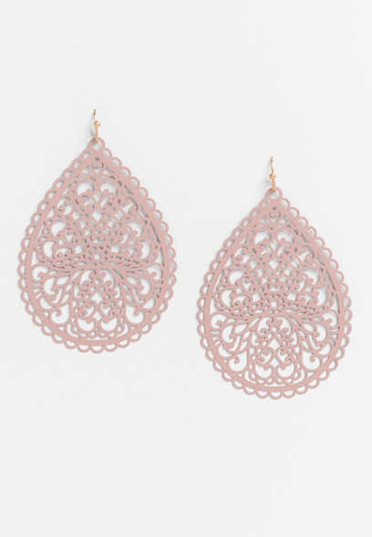 cutout scallop drop earrings