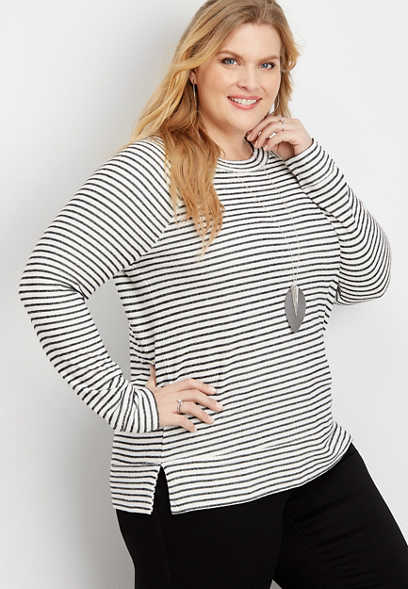 Plus Size Stripe Crew Neck Pullover