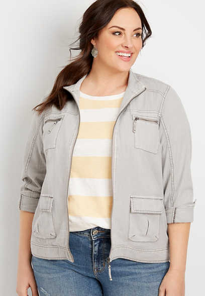 Plus Size Light Grey Utility Jacket