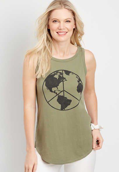Peace Sign Graphic Tank Top