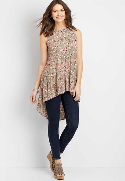 floral babydoll high low top