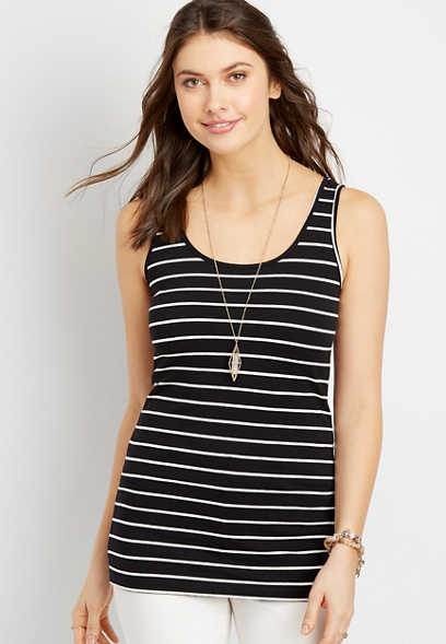 stripe scoop neck layering tank