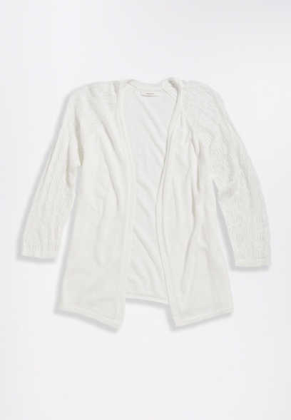 Solid Pointelle Sleeve Cardigan