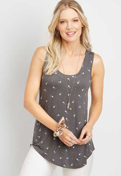 24/7 daisy scoop neck tank