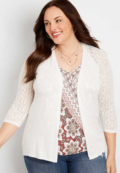 Plus Size Solid Pointelle Sleeve Cardigan