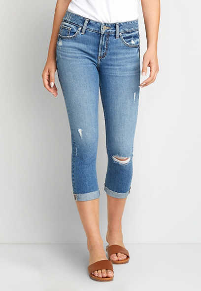 Silver Jeans Co.® Elyse Medium Ripped Cuffed Capri