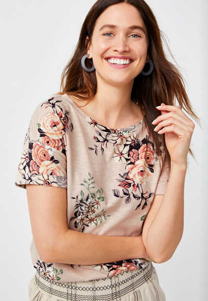24/7 Floral Drop Shoulder Tee