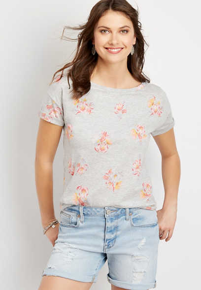 24/7 Floral Drop Shoulder Classic Tee