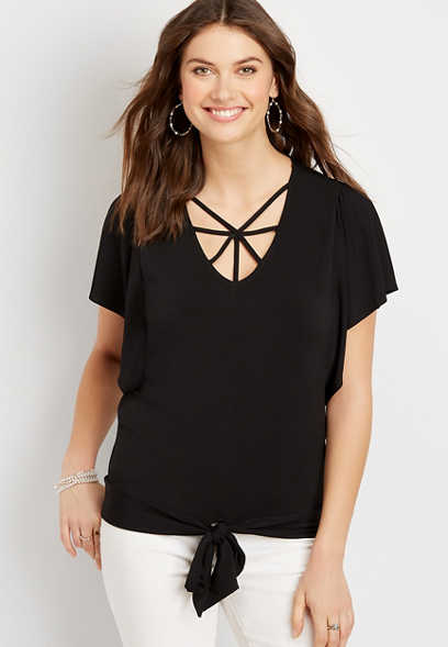 Black Strappy Neck Tie Front Top