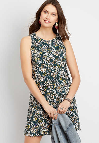 Blue Floral Sleeveless Shift Dress