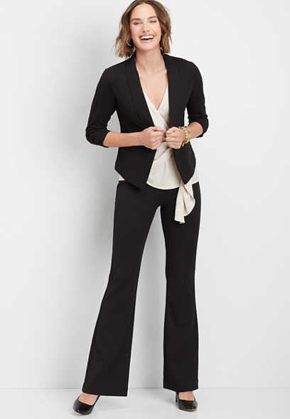High Rise Crepe Stretch Flare Pants