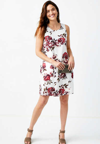 Floral White Sleeveless Shift Dress