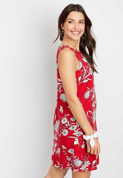 Red Floral Print Mini Shift Dress