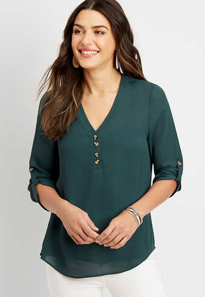 solid double button blouse