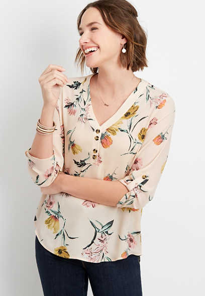 Floral Double Button Blouse
