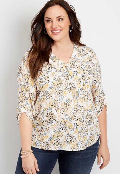 plus size ditsy floral double button blouse