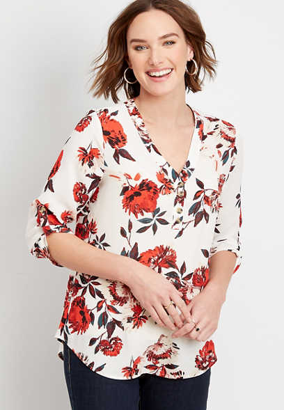 Red Floral Double Button Blouse
