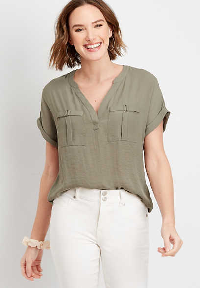 Solid Pocket Blouse