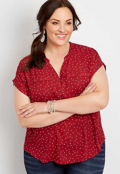 Plus Size Polka Dot Pocket Blouse