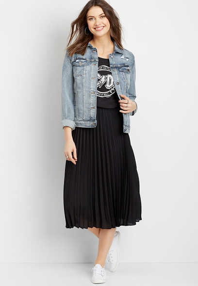 High Rise Pleated Skirt