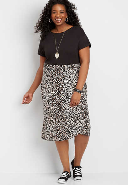 Plus Size Leopard Wrap Skirt