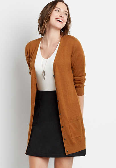 Solid Boyfriend Tunic Button Down Cardigan