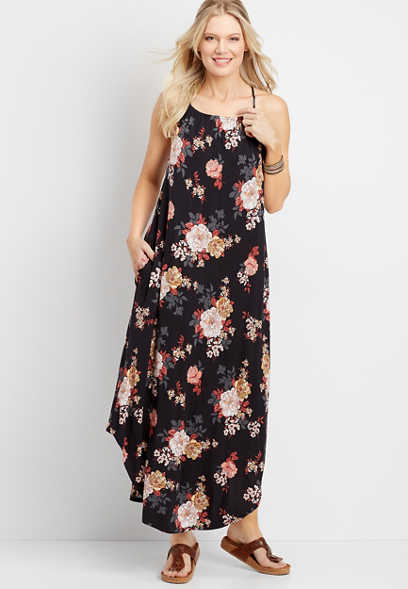 floral halter top maxi dress