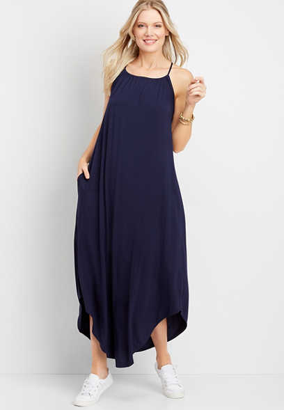 Blue Halter Top Maxi Dress