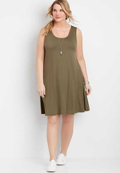 Plus Size Solid Strappy Back Dress