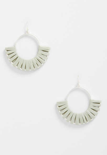 gray threaded hoop earrings