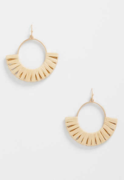 neutral threaded hoop earrings