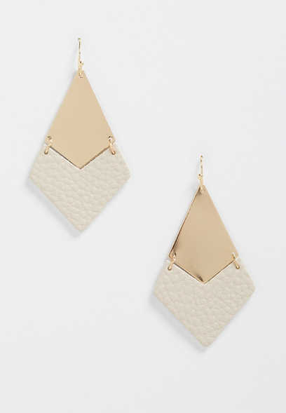 taupe and gold hinged drop earrings