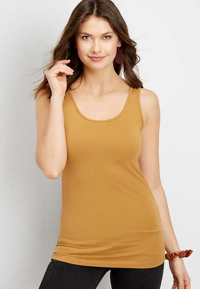 Solid Scoop Neck Layering Tank
