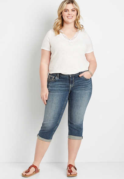 Plus Size Vigoss® Dark Wash Stiched Pocket Capri