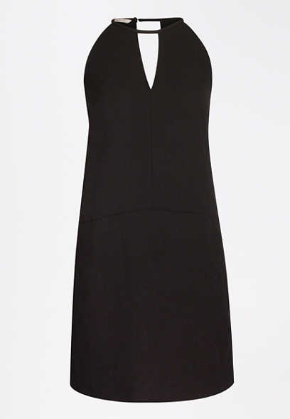 Black Keyhole Shift Dress