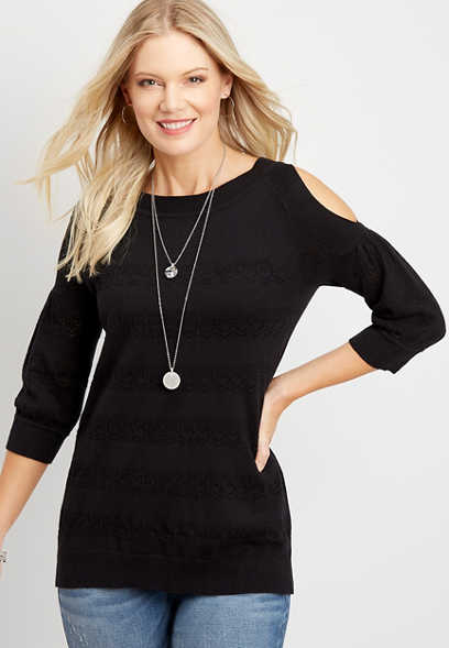 Cold Shoulder Puff Sleeve Pullover