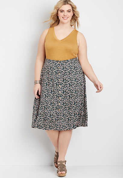 Plus Size Ditsy Floral Button Front Skirt