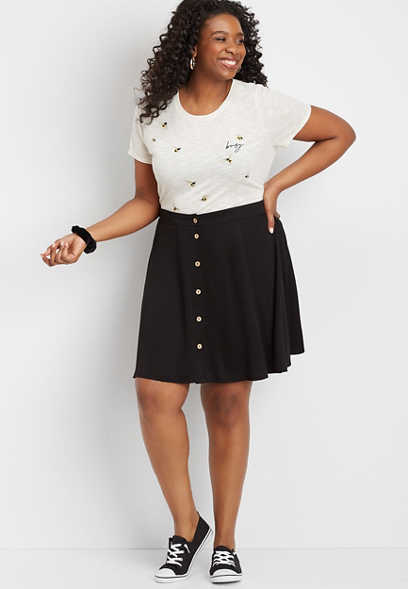 Plus Size Black Button Front Skirt