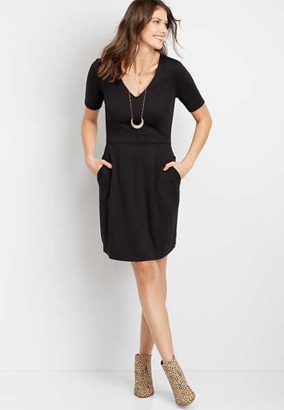 Black Ponte Short Sleeve Skater Dress