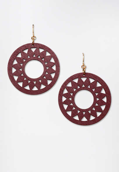 Wood Cut Out Drop Earrings