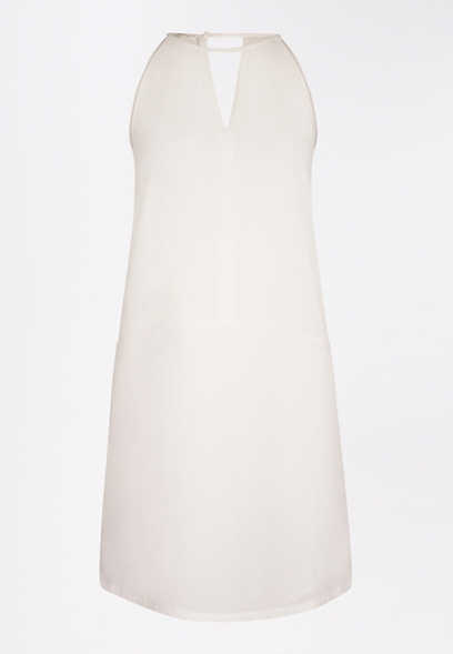 White Keyhole Shift Dress