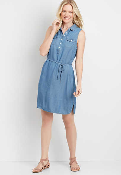 Utility Denim Shirt Dress