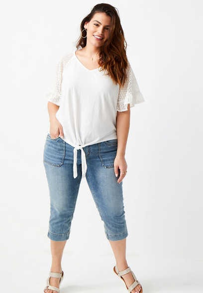 Plus Size DenimFlex™ Medium Wash Utility Capri