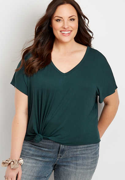 Plus Size 24/7 Scoop Cowl Back Tee Shirt