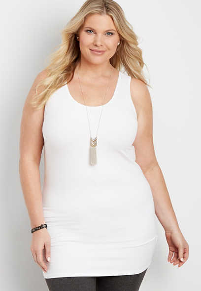 Plus Size Basic Tunic Tank Top