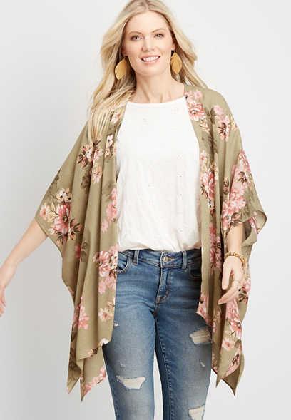floral print ruana