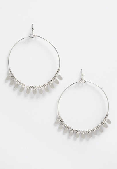 silver beaded hoop drop earrings