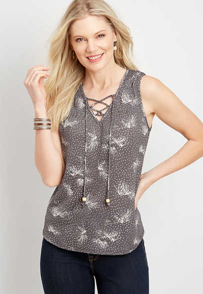 Floral Lace Up Tank